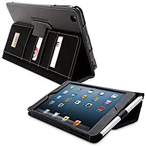 Snugg Leather Flip Stand Cover with Protective Premium Nubuck Fibre Interior for the Apple iPad iPad Mini & iPad Mini 2 Card Slot 'Executive' black - black