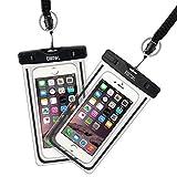 EOTW 2 Stück Wasserdichte Handy Hülle, Wasser- und staubdichte Hülle für iPhone, Samsung, Nexus, HTC und Mehr, Super Hülle für Den Strand und Wassersport (Schwarz+Schwarz)