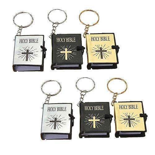 Boomder Satz von 6 Holy Bible Keychain Mini Book Schlüsselanhänger Religiöses Geschenk Poster Drucke