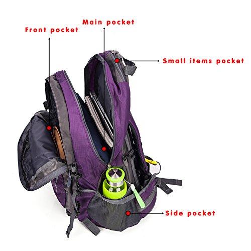 Bergsteigen Rucksack Leichtes Wandern Klettern Wasserdicht Großer Tagesrucksack für Outdoor Sport - Lila Lila
