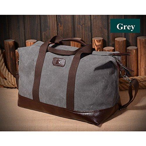 Herren Canvas Wochenende Tasche Reisetasche Satchel (Schwarz) Grau