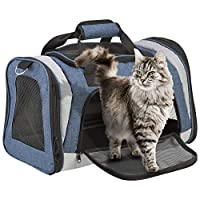 YourHome Travel Pet Transport Carrier for Cats & Small Dogs Foldable, Lightweight, Soft Sided with Carry Strap 45x 27x29cm (Blue Transport Carrier)
