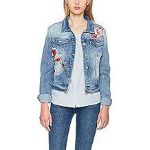 Lange jeansjacke mit stickerei
