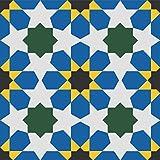 Zementfliese Florina blau gelb - Handarbeit - historische Baustoffe Altbau