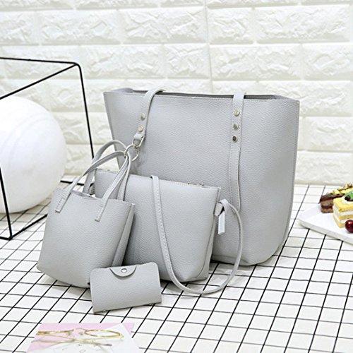 Damen Schultertasche, VJGOAL 4Pcs Frauen Mädchen Mode Muster Leder Schultertasche + Umhängetasche + Handtasche + Brieftasche Geschenke Grau