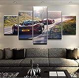 mmwin Modulare HD Druckgrafik Moderne Poster Wohnkultur Wandkunst 5 Stücke Bilder Schwarz Und P1 Rot Sportwagen Leinwand