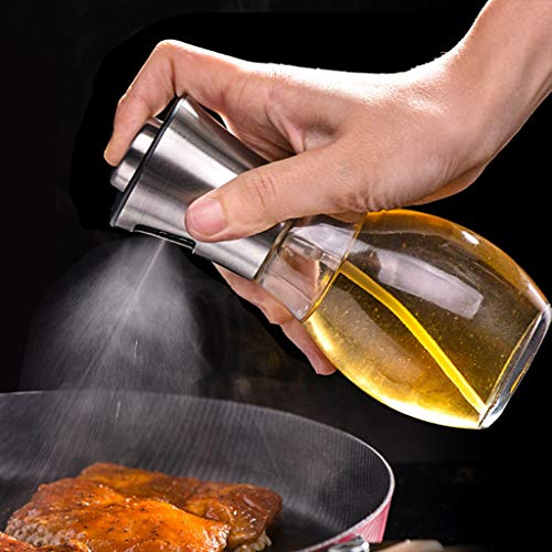 Edelstahl Ölsprüher Flasche Öl Essig Spender 200ML, Hukz Essig Spritzer Ölspender Öl Auslöser Oil Sprayer Bottle Dispenser Öl Sprüher Olivenöl Container für Kochen, Salat, BBQ, Grillen, Pasta - Top Olivenöl Gießen