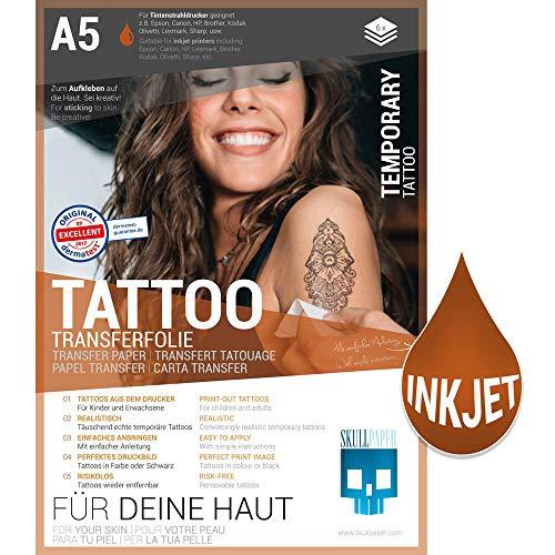 SKULLPAPER temporäre A5 Tattoo-Transferfolie FÜR DIE HAUT dermatologisch SEHR GUT getestet hautverträglich individuell zuschneidbar (A5-6 Blatt)