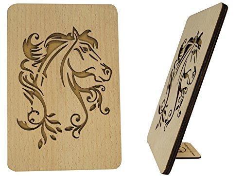 Cartes de vœux d'anniversaire, cartes de vœux en bois avec dictons d'anniversaire, cheval (608)