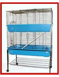 Felix - Gran jaula de dos pisos para interior, con soporte, para conejos y hurones