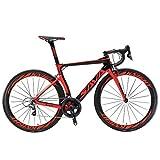 Carbon Rennrad,SAVADECK Phantom3.0 700C Rennrad Kohlefaser Rennräder Fahrrad Shimano Ultegra 8000 22 Speed Group Set mit Michelin 700C*25C Reifen und Fizik Sattel (50cm, Schwarz Rot)