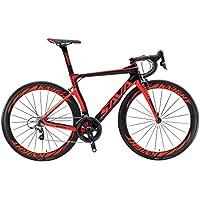 SAVADECK Phantom 5.0 700C Bicicleta de Carretera Carbon Fiber Bike con SRAM Force 22 Speed Group Set Hutchinson 25C Silla de Montar Tyco y Fizik (52cm, Rojo)