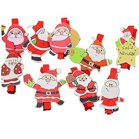 Flammee Lot de 24/48 Mini Pince a Linge en Bois Eco-friendly Série Noël Père Noël Décoration de la Fête