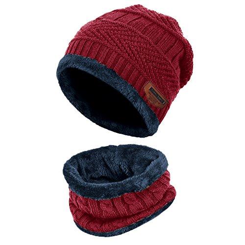 Aibrou cappello uomo invernale in maglia con sciarpa, 2 pezzi sciarpe da sci all'aperto e set sciarpa (one size, vino rosso)