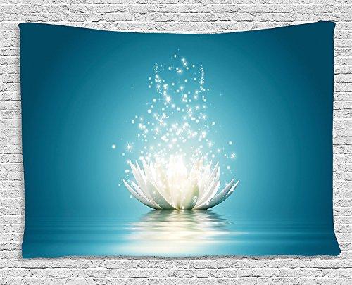 Lotus - Tapiz de loto mágico con brillantes reflejos y meditación espiritual de Zen Life, yoga, para colgar en la pared, para dormitorio, salón, dormitorio, 152,4 x 101,6 cm, color azul petróleo coco