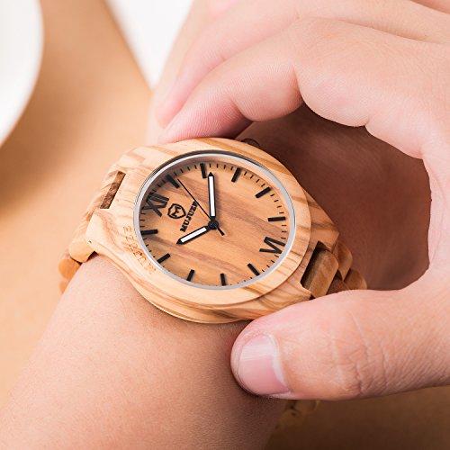 MUJUZE Herren Analoge Quarz Holzkern Armbanduhren mit Olivenholz Band und Leuchtendem Zeiger ME1001Olive Wood - 3