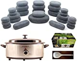 MassageMaster HOT STONE MASSAGE KIT: 27 Basalt Stones + 6.5 Quart Heater