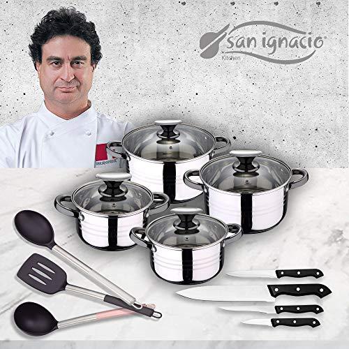 San Ignacio Premium - Bateria de 4 piezas de acero inoxidable, 4 cuchillos y 3 utensilios, acero inoxidable...