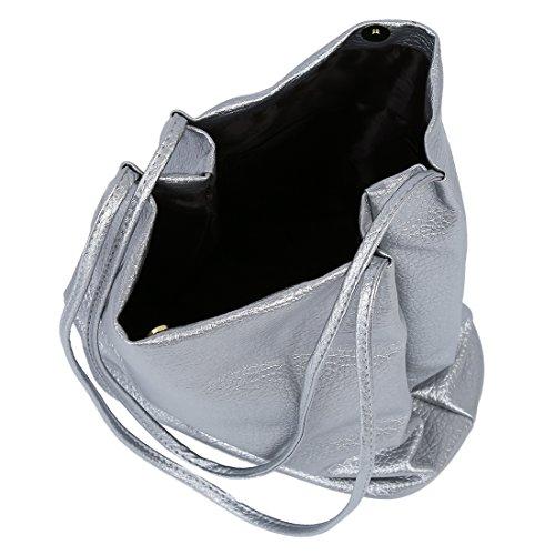 grande Borsa - SODIAL(R)Le donne di cuoio Borse benna borse a spalla ad attraversare sacchi di plastica di grandi dimensioni signore Capacita' Borsa della spesa Argento Argento