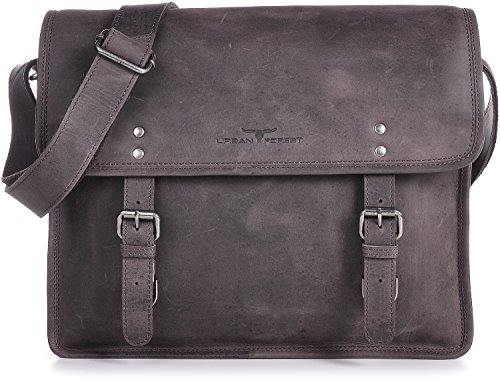 Leder Messengerbag Braun URBAN FOREST Cntmp Businesstasche Aktentaschen Umhängetasche Dunkelbraun Echt-Leder DIN-A4 37x28x11cm (B x H x T)