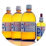 1600ml Plata coloidal PureSilverH2O / 3 x Botellas (cada 500ml/10ppm) Plata coloidal + pipetas botella (100ml/50ppm) - 99,99% de plata pura - la mejor calidad - Made in Germany