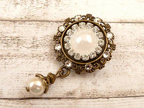 Brosche mit Perlen und klarem Strass Brautstrauß Brosche