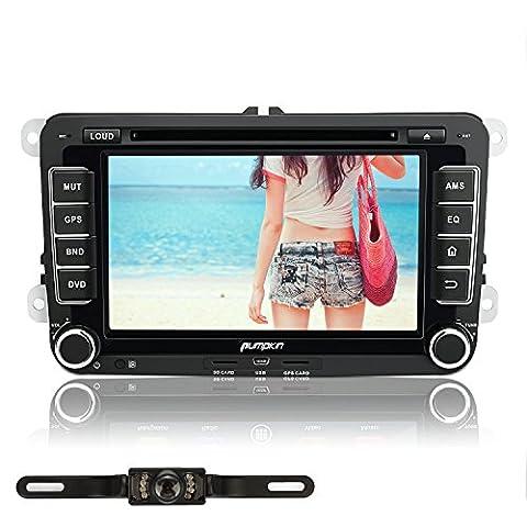 Pumpkin 7 Inch Android 5.1 Lollipop 1024*600 Car DVD Player Head Unit for VW Golf Jetta Passat Polo Seat Skoda Support GPS Sat Nav/Bluetooth/Radio/SWC/USB SD/Subwoofer/AUX/AV Output/3G Wifi/Mirror Link/DAB+/Parking Sensor (Free Reverse Camera Y0811