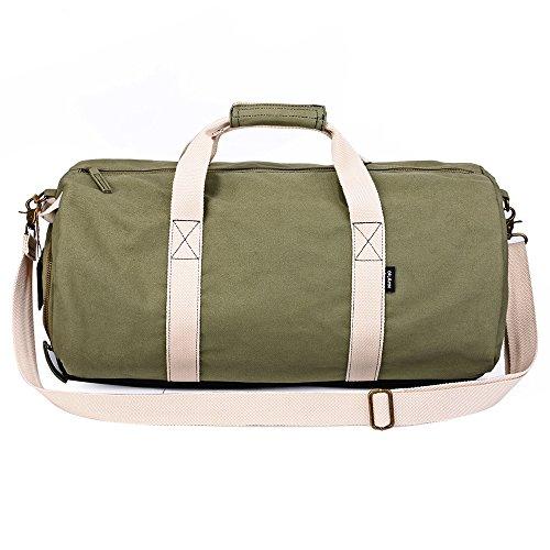 Oflamn Große Sporttasche mit Schuhfach Reisetasche aus Segeltuch Duffel Bag Seesack Outdoor Tasche für Gym,Bootfahren, Wandern, Camping, Übernacht, Wochenende (army grün)