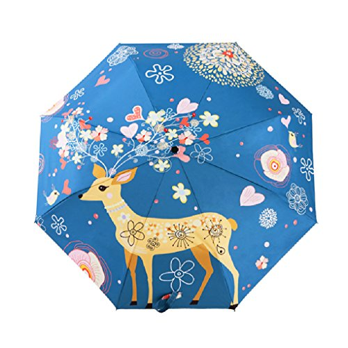 Praktischer Regenschirm, leicht, windstabil, zusammenklappbar, 3D bedruckt Wapiti - 50 Hat Spf