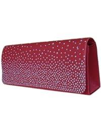 Damen Handtaschen Abendtasche Partytasche Clutch Bag,25x10 cm,Rot