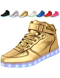 adituob [farbe] 7 USB - ladegerät LED, Junge Mädchen, die Männer Frauen schuhe -Gold-42