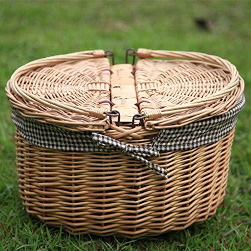 LTLSF Big Round Wicker Picknickkorb Vintage Oval Obstkorb Mit Klappgriff & Abdeckung Willow Picknickkorb Korb