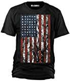 """Sputnik Shirts - Maglietta """"Big Style"""" con bandiera americana aspetto consunto, taglie da S a 5XL, Nero (nero), 4xl"""