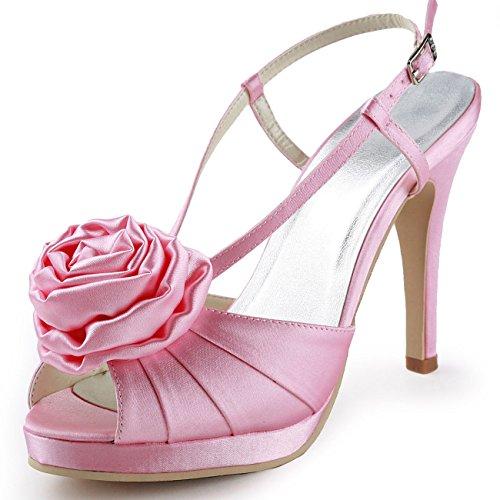 XINJING-S Satin Peep Toe Flower Platform Slingback High Heel Sandalen Brautschuhe Rosa