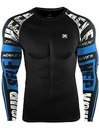 Zipravs - Camiseta de compresión unisex, termorreguladora, manga larga, hombre, color ZCDS