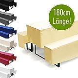 Hussen-Set für Bierzeltgarnitur, Länge 180 cm - 1x Biertischhusse 180x50 cm & 2x Bierbankhusse 180x25 cm - Vanille/Creme