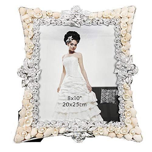 Abbie Home Hochzeits-Bilderrahmen - Muschel verziert Jahrestag Familie und Freunde Modern 8x10 beige -