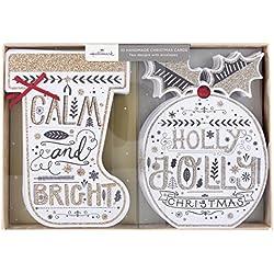 Hallmark–Tarjeta de Navidad (hecha a mano), diseño de calcetín y Pudin 'Tarjetas de–10, 2diseños