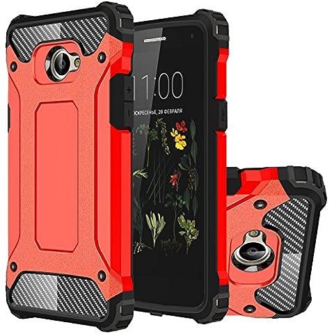 LG K5 Funda, HICASER Híbrida Case [Heavy Duty] Rugged Armor Cover, Dual Layer Shock Resistant Carcasa para LG K5 Rojo