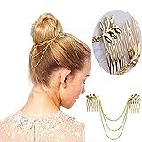 HERGON Kette Kamm, Kopfband Damen Charming Golden Leaf Haar Cuff Zubehör