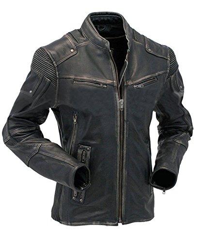 CHICAGO-FASHIONS Vintage Motorrad Cafe Racer Herren Biker Jacke Leder Used-Look - Schwarz - Klein (Vintage Motorrad Leder Jacke)