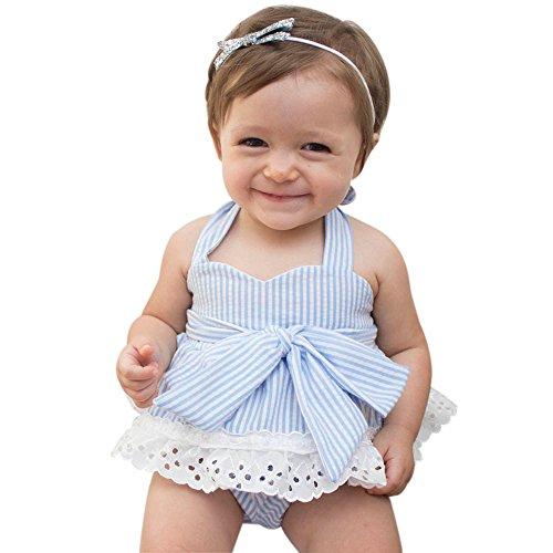 (Babykleidung Honestyi Neugeborenen Baby Mädchen Bowknot T Shirt + Shorts + Stirnband Kleidung Outfits Set (Hellblau,90))