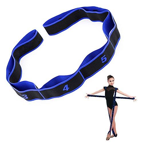 Ueasy Fitnessband, hochwertiges Dehnungsband für verschiedene Sportarten wie Lateinamerikanischer Tanz, Fitnesstraining, Yoga, Turnen, 1 Stück, schwarz / blau