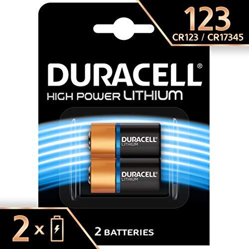 Pile lithium haute puissance Duracell 123 3 V, pack de 2 (CR123 / CR123A / CR17345), conçue pour une utilisation dans les capteurs, verrous sans clé, flashs d'appareil photo et lampes de poche