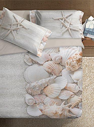 Ipersan Marine Fine-Art Parure Copripiumino Fotografico, Piazzato, Cotone, Beige/Bianco, Matrimoniale