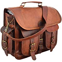 Last DAY - SALE Clearance 2019! Shakun Leather Handmade Real Goat Leather Vintage Brown Briefcase Laptop Bag, One Size, NEW, 100% Pure Leather with Free Shipping
