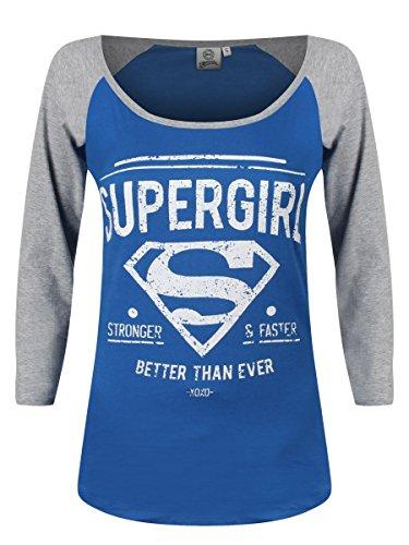 Superman - Supergirl Better Than Ever Femme Long Sleeve T-Shirt - Blue Bleu Femme