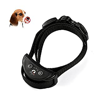 Jcotton Collier Anti-aboiement automatique rechargeable Sensibilité réglable Son Statique Chien Animal Bark Collier