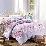 Unbekannt WLL Koreanischen Stil Blumen/Blumen Gestreifte Polyester Bettbezug - J 220*240 cm (87 x 94 Zoll)
