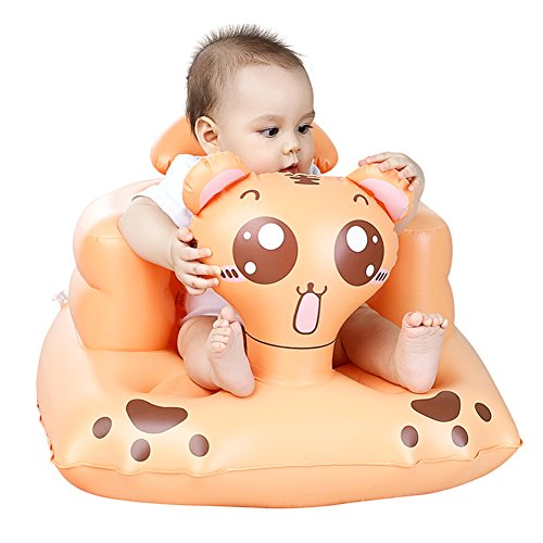 Per Baby Inflatable Seat Cartoon Tiger Booster Learn To Sit Sofa With Backrest&Built-in Air Pump For Toddlers Kids